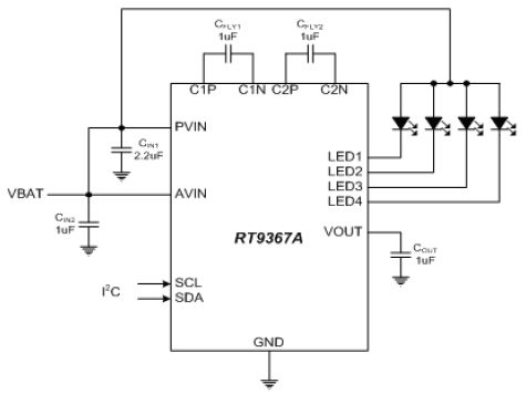 Charge Pump LED Driver Application Circuit