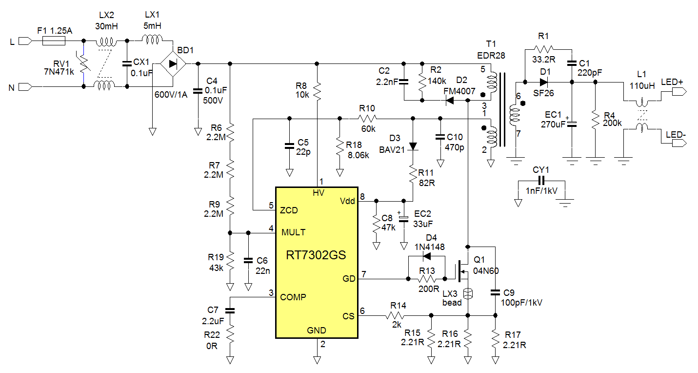 Tube Led Driver Wiring Diagram External For T5 6 Bulb Fixture Design Guidelines Rt7302 And Rt7304 Psr Richtek Rh Com 120v T8