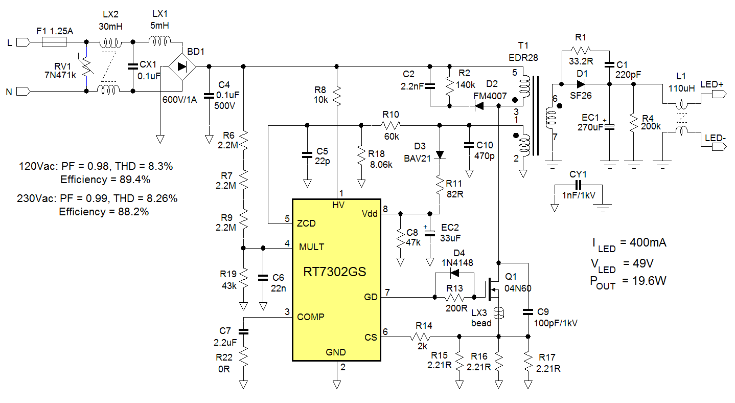 The 5w Mr16 Led Lamp Circuit Is Shown Using The Max16820 Led Driver