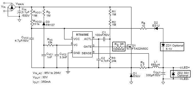 RT8458E - High Efficiency PWM Buck LED Driver Controller for High