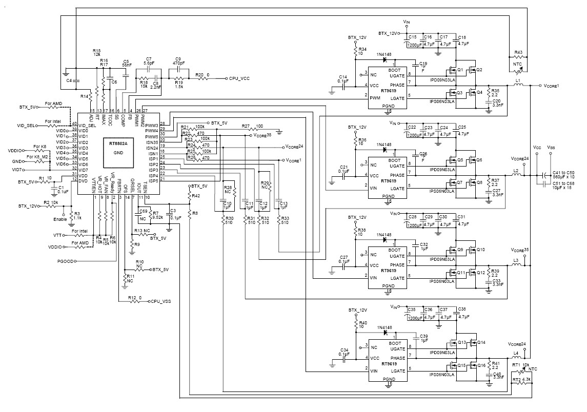 Rt8802a 2 3 4 5 Phase Pwm Controller For High Density Power Supply Following Is The Schematic Of Voltage Controlled Generator A Synchronous Buck Specifically Designed To Intel Amd Next Generation Microprocessors